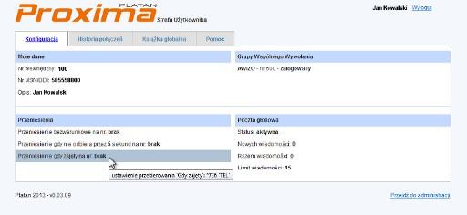 Okno Strefy Użytkownika w IP PBX Serverze Proxima